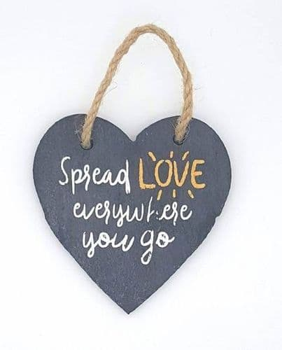 Slate heart hanging decorations - spread love everywhere you go
